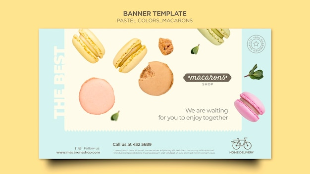 Macarons shop banner template