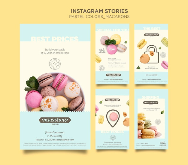 Macarons shop instagram stories template