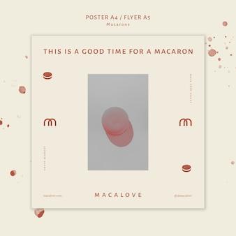 Шаблон рекламного плаката магазина macarons