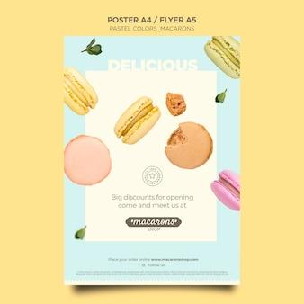 Modello di poster del negozio di macarons