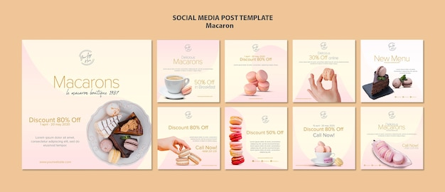 Macarons social media post template