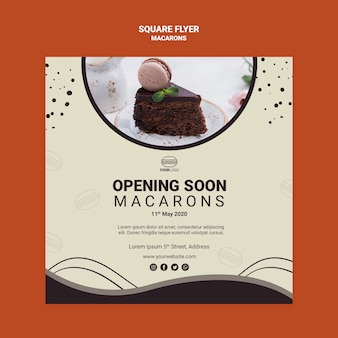 Macarons square flyer style