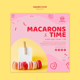Флаер времени macarons квадратный