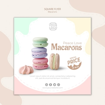 Красочный французский macarons квадратный флаер шаблон