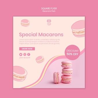Macarons упаковывают квадратный стиль флаера