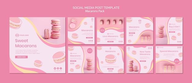 Macarons пакуют пост в социальных сетях