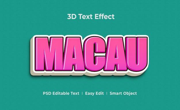 Macau 3d text effect mockup template