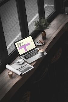 Cafe mockup의 macbook pro