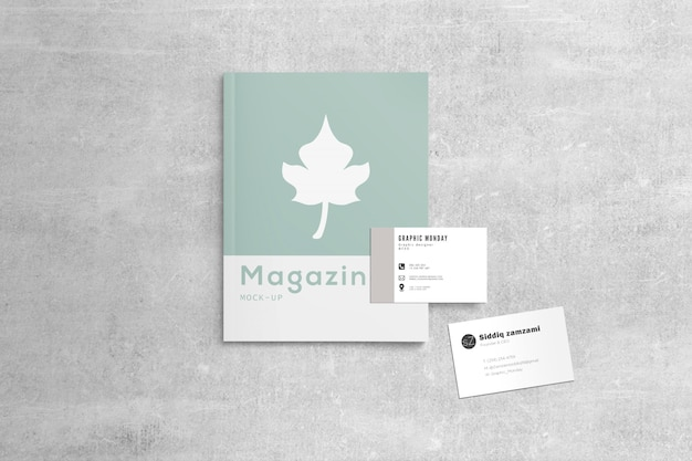 Maganize with business cards mockup