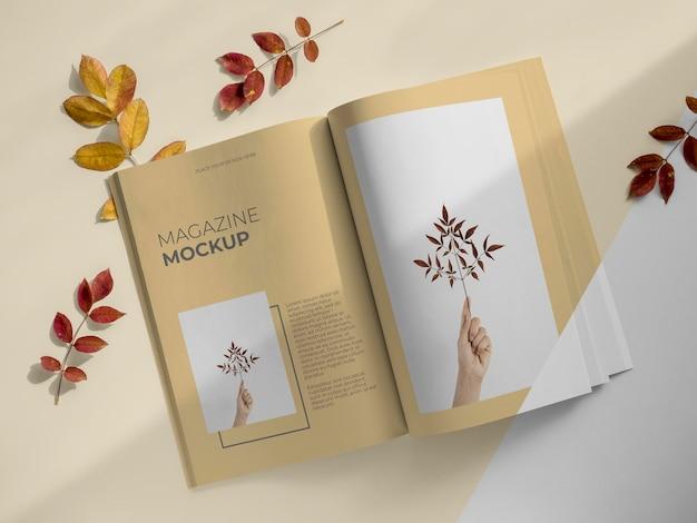 雑誌と葉の上面図
