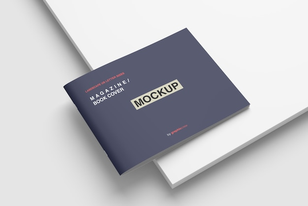 Magazine or book cover mockup with base