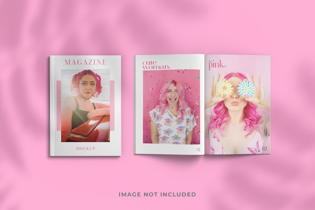 잡지 근접 촬영 표지 및 내부 페이지 모형