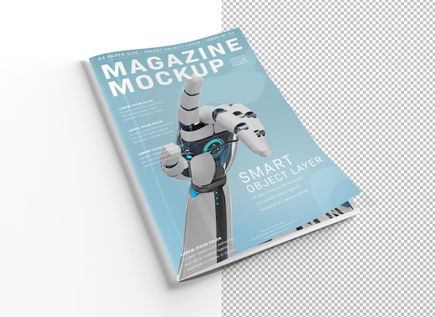 Magazine cover cut out on white mockup
