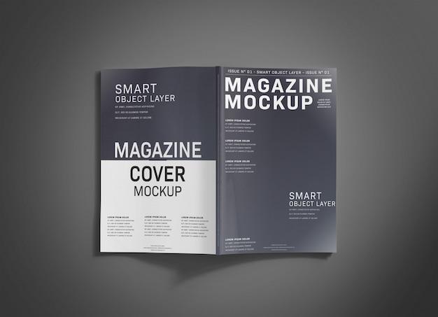 Magazine cover on grey surface mockup