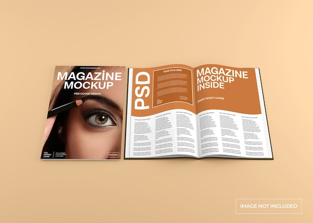 Magazine cover and inside page mockup isolated