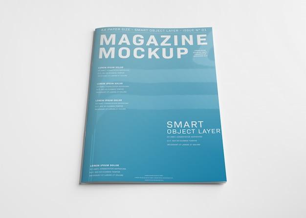 白のモックアップに分離された雑誌の表紙