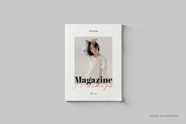 雑誌の表紙のモックアップの上面図