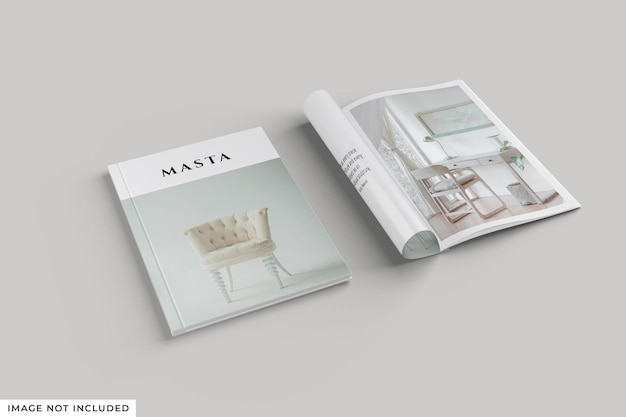 Magazine cover and roll inside mockup
