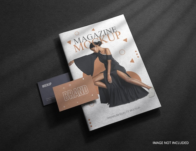 Magazine cover with business card mockup