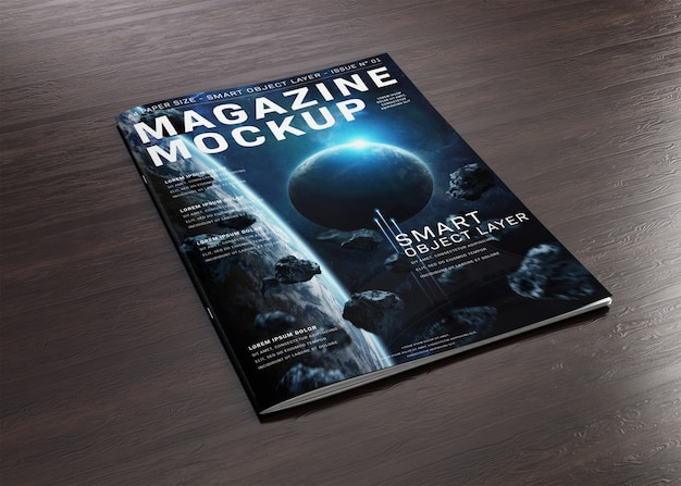Magazine cover on wooden surface mockup