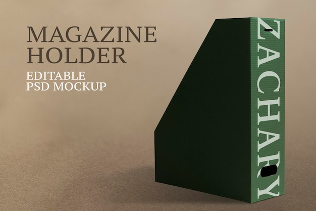 Magazine holder psd mockup for office supplies
