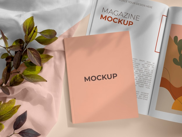 Magazine and leaves mockup above view