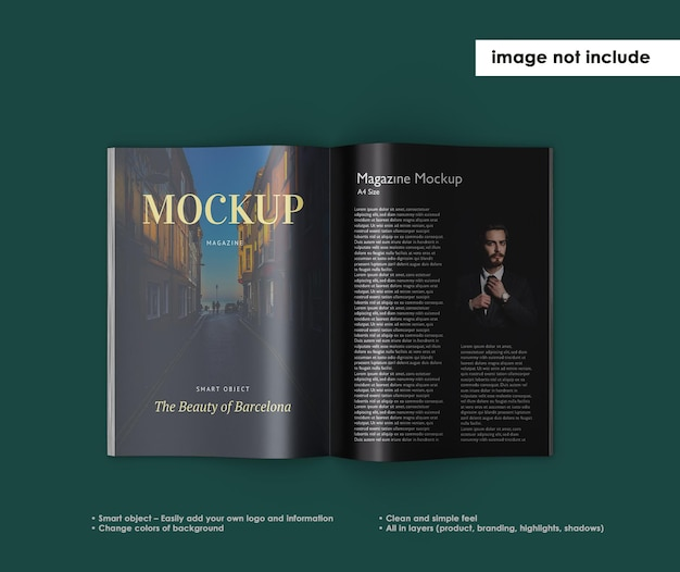 Magazine mockup design isolated