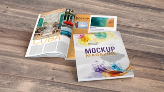 Magazine mockup on wooden table