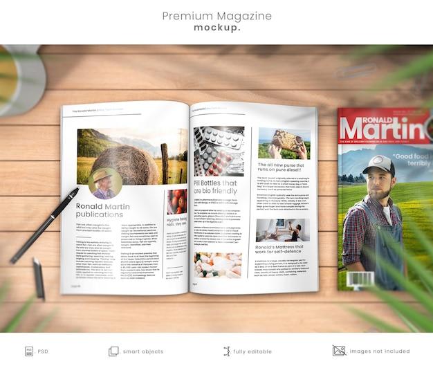 Макет журнала на деревянном столе