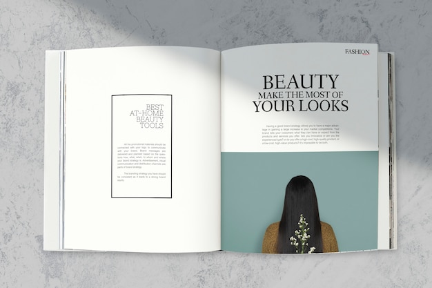 Magazine mockup with beauty tools