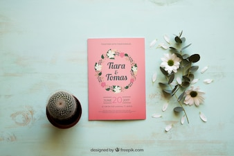 Magazine mockup with cactus and flowers