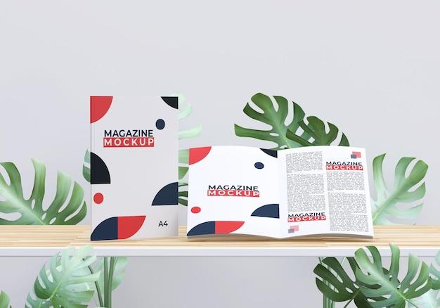 Макет журнала с дизайном листвы