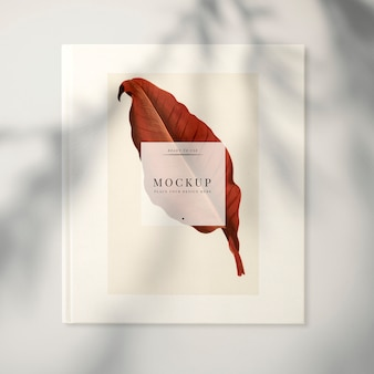 Magazine mockup with a leaf