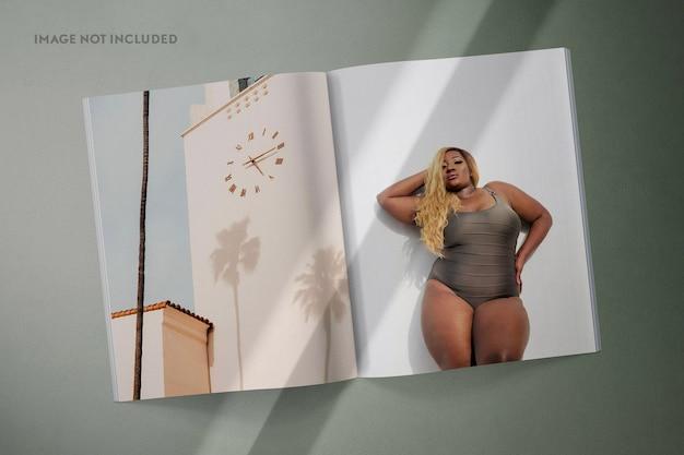 Magazine spread mockup scene