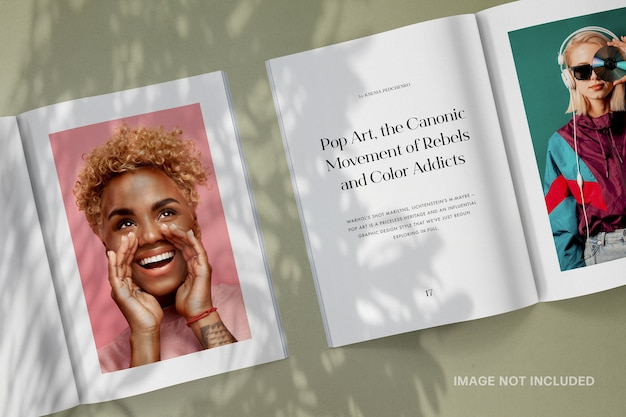 Magazine spread with shadow mockup