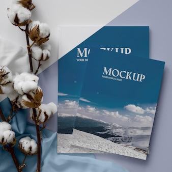 Magazines and cotton arrangement top view