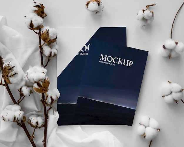 Magazines and cotton arrangement
