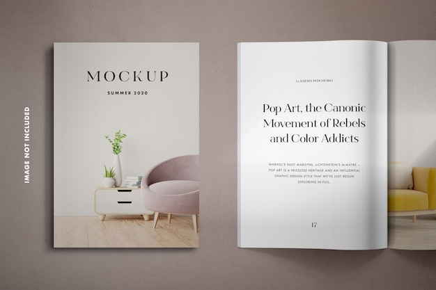 Magazines mockup with shadow overlay