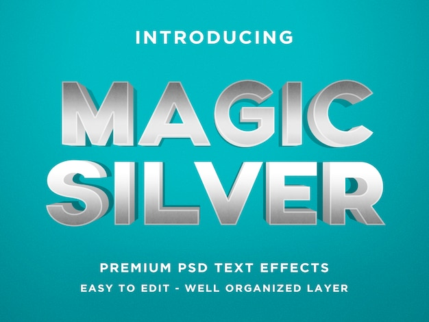 Magic silver 3d text effect photoshopテンプレート