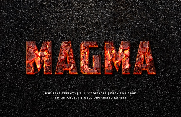 Magma 3d text style effect