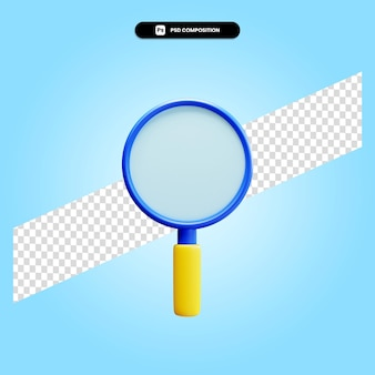 Magnifying glass 3d render illustration isolated