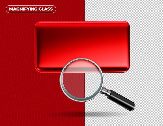 Увеличительное стекло на красном фоне