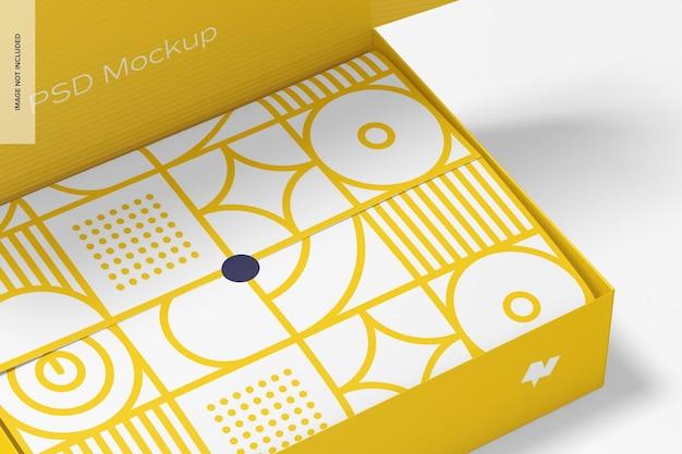 ティッシュペーパーのモックアップを包むメールボックス、クローズアップ