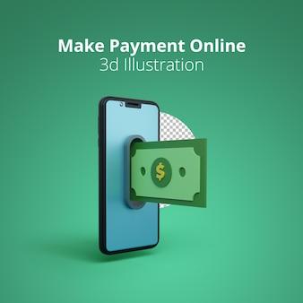 Сделать онлайн-платеж 3d-иллюстрация сцена выплаты денег на смартфоне