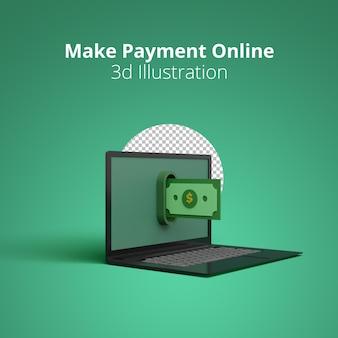 Сделать онлайн-платеж 3d иллюстрации сцена выплаты денег на экране ноутбука