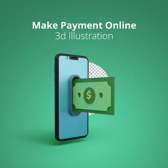 Make online payment 3d illustration scene of paying money on a smartphone