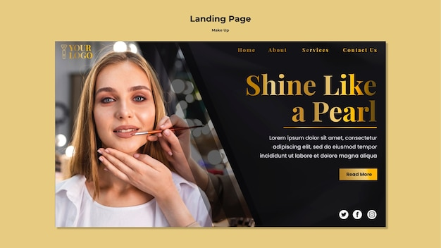 Make up landing page web template