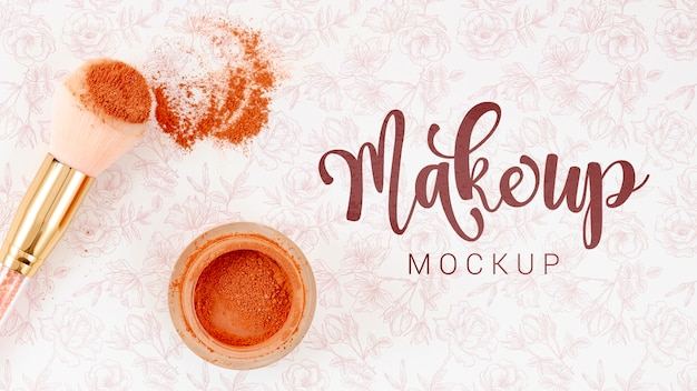 Make up mock-up with loose powder