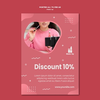 Make-up products flyer template with photo