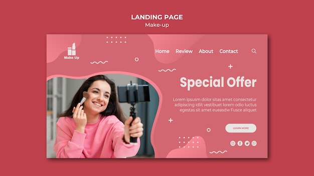 Make-up products landing page